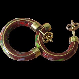 Vintage Cloisonné  Gold Tone Pierced Post Hoop Earrings