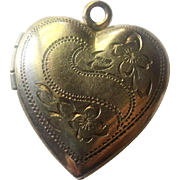 Vintage Gold Filled  Two Picture Heart Locket Mid 40's