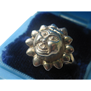 Vintage Sterling Silver Sun Face Poison Ring