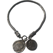 Vintage Sterling Silver Unisex Bracelet With Two Roman Style Coins