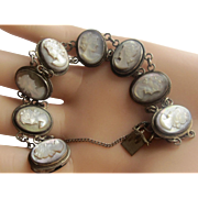 European Antique Abalone Cameo 800 Silver Link Bracelet