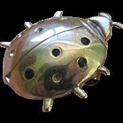 Vintage Sterling Silver Enameled Beetle Bug Brooch