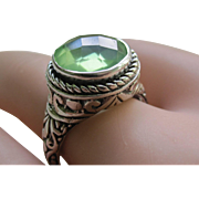 Vintage Sterling Silver Faceted Checkerboard Cut  Green Quartz  Ring