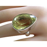 HUGE!  31.4ct Teardrop Lemon Quartz Sterling Silver Ring
