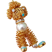 Articulated French Poodle With Faux Pearls, White Rhinestones and Faux Turquoise Brooch