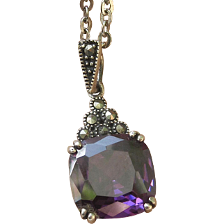 Sterling Silver Pendant With Synthetic Alexandrite and Marcasites