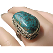 Vintage Sterling Silver HUGE Turquoise Stone Ring