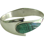 Vintage Heavy TAXCO Sterling Silver Spring Cuff Bracelet with STUNNING Huge Malachite