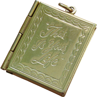 """Memorable Vintage """"This Is Your Life"""" Two Picture Locket Pendant"""
