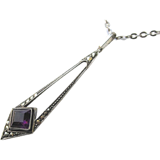 Art Deco Sterling Silver With Paste Amethyst and Marcasites Pendant