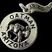Vintage Sterling Silver ARIZONA Charm/Pendant