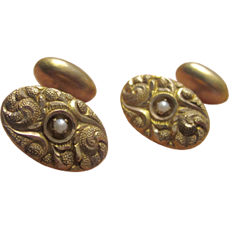 Antique Victorian 14K Y.G. Repousse Cufflinks with Cultured Pearl Cir 1800s