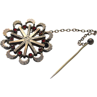Victorian Sterling Silver Garnet Brooch With  Gold-filled and Vermeil c: 1800