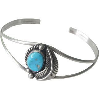Vintage Sterling Silver Old  Native American Turquoise Cuff Bracelet