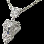 Vintage Art Deco Platinum Sparkling .48tcw Diamond Sapphire Pendant