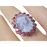 Vintage Stunning 14K Yellow Gold Cameo Ring With Sparkling Natural Faceted Rhodolite Garnets