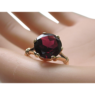 Victorian 14K Rose Gold Ring With Stunning Large 4.30ct Round Faceted Red Garnet