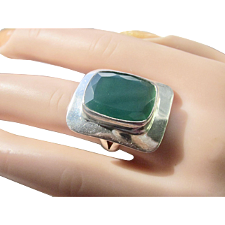 Estate Sterling Silver Ring With Huge Faceted Green Onyx