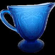 Depression Glass Royal Lace Cobalt Blue Creamer
