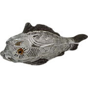 RARE Co-Operative Flint Glass Co. WHALE / FISH Covered Dish