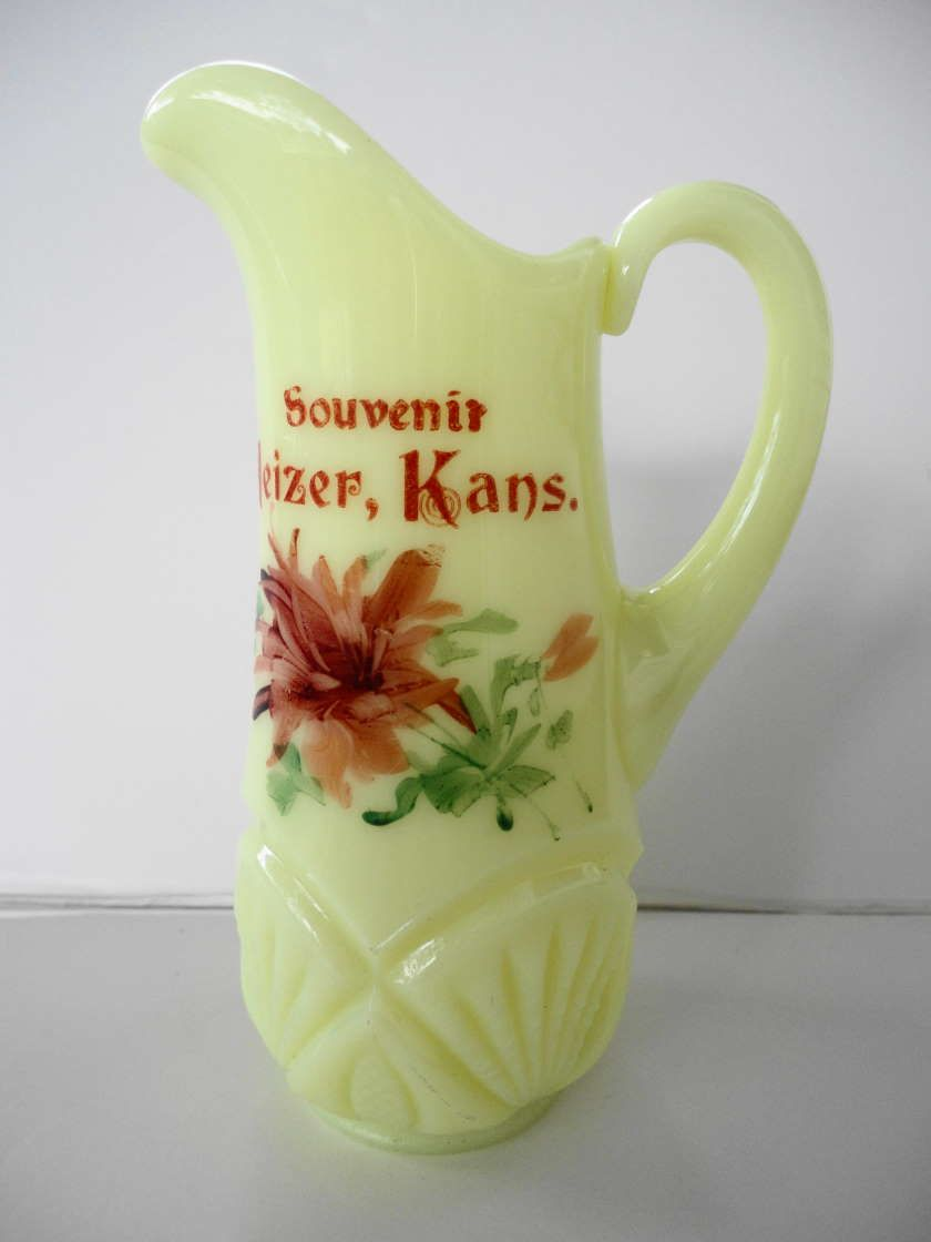 EAPG Heisey Pineapple and Fan Custard Glass Creamer Souvenir Heizer, Kansas