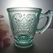 "EAPG Child's Mug Diamond with Circle Apple Green 3""h ca 1880s"