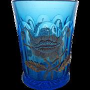 EAPG Northwood Oriental Poppy Flower Blue and Gold Tumbler