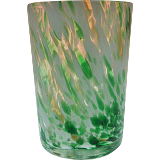 Mold Blown Tumbler ~ Crystal, green, opal Spatter