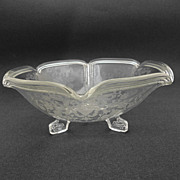 Imperial 3-toed Bowl # 588 Pie Crust Crystal w Lotus Rose Bud Bridal Basket Etch