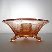 Fostoria OAK LEAF BROCADE Etch Elegant Glass Pink Candlestick Candleholder