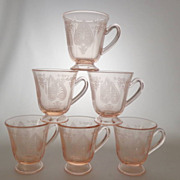 Demitasse Fostoria TROJAN Rose Pink Cups ~ Lot of 6