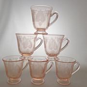 Demitasse Fostoria TROJAN Rose Pink Cups ~ Lot of 6