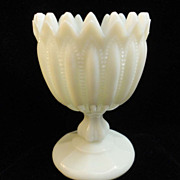 Portieux Vallerysthal PV Opaline White Milk Glass Compote Candy Sugar France