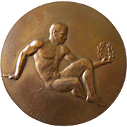 French Bronze Sports Medal by P. Bouret