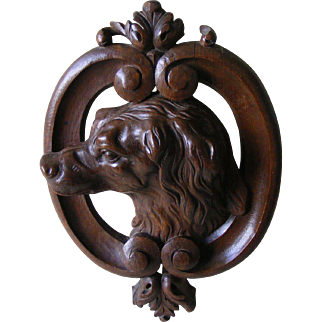 19th Century French Carved Wood Dogs Head