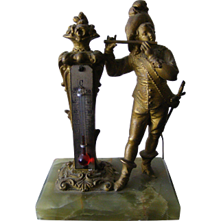 French Gilt Spelter Thermometer with Musician