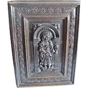 A Pair of French 18th Century Carved Door Panels Woman with Flaming Chalice and Woman and Lamp