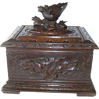 19th Century Black Forest Carved Cigar Box