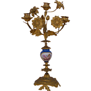 A French Gilt Bronze and Porcelain Candlelabra