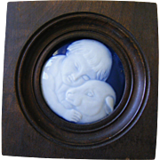 French Small Porcelain Plaque Child and Lamb