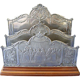 Engraved French Silver Plated Letter Rack