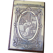 French Engraved Silver plated Desk Note Book Holder