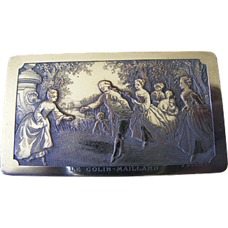 French Engraved Silver Plated Stamp Box