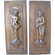 A Pair of French Carved Oak Panels of Two Young Women