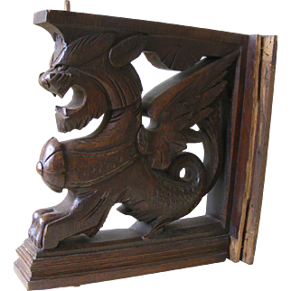A Pair of French Carved Oak Dragon Supports