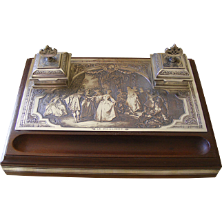 French Mahogany and Engraved Silver Plated Desk Set