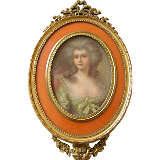 French Gilt Bronze Hand Mirror with Engraving