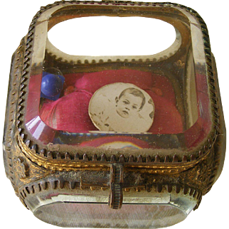 A French Glass and Gilt Metal Trinket Box