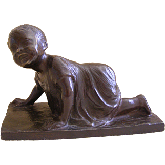 Italian 19th Century Bronze of a Crawling Child by A Pasquali