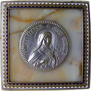 French Champleve Enamel and Marble Religious Plaque